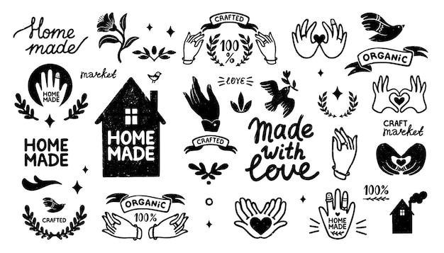 Hand gezeichnete ikonen, die mit weinleseelementen im stempelstil gesetzt werden