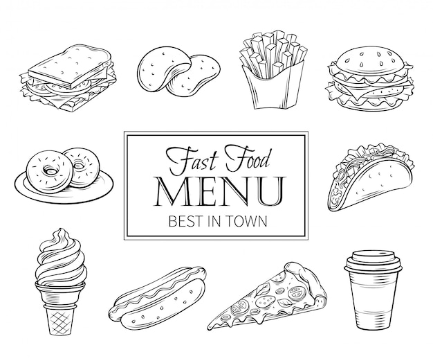 Hand gezeichnete ikonen fast food.