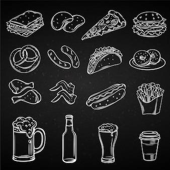 Hand gezeichnete ikonen für street cafe