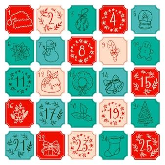 Hand gezeichnete illustration adventskalender
