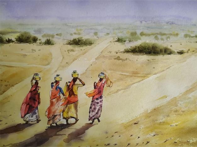 Hand gezeichnete illustration der aquarelldorfszenenlandschaftsmalerei
