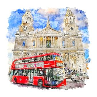 Hand gezeichnete illustration der aquarellskizze von london großbritannien