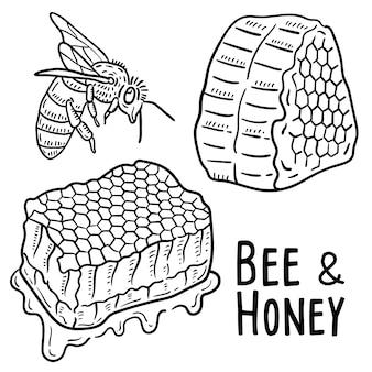 Hand gezeichnete illustration der biene und des honigs.
