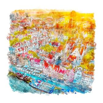 Hand gezeichnete illustration der danziger polen-aquarellskizze