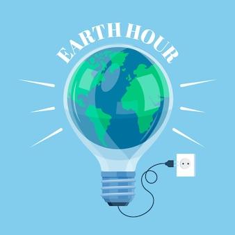 Hand gezeichnete illustration der erdstunde mit planet und glühbirne