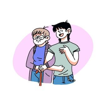 Hand gezeichnete illustration der familienmitglieder