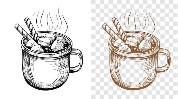 Hand gezeichnete illustration der heißen schokolade