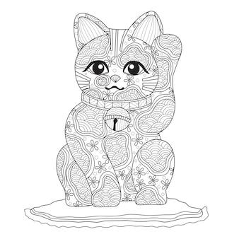 Hand gezeichnete illustration der japanischen glücklichen katze