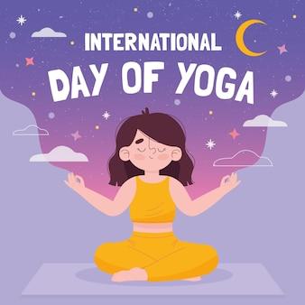 Hand gezeichnete illustration der jungen frau, die yoga tut