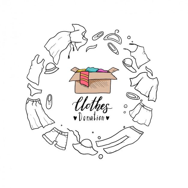 Hand gezeichnete illustration der kleidung spenden, charity-konzept. doodle-stil.