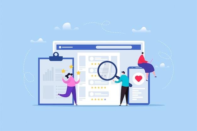 Hand gezeichnete illustration der kundenbewertung / des feedbacks