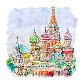 Hand gezeichnete illustration der moskauer russland-aquarellskizze