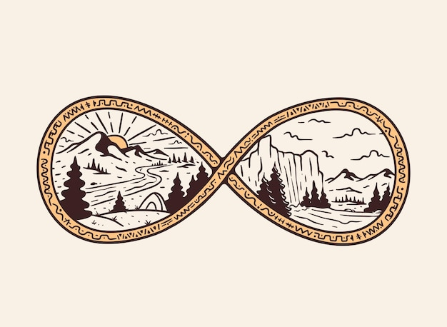 Hand gezeichnete illustration der naturlandschaft im unendlichkeitsabzeichen