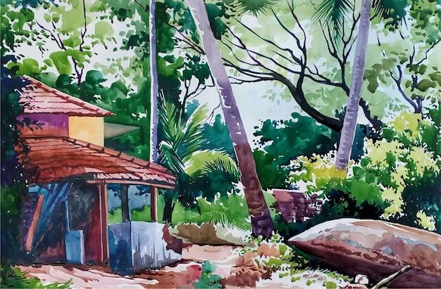 Hand gezeichnete illustration der schönen landschaftsansicht des aquarells