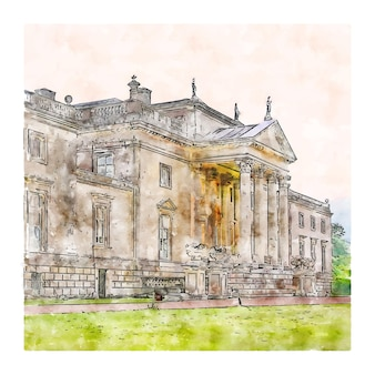 Hand gezeichnete illustration der stourhead national trust united kingdom aquarell-skizze
