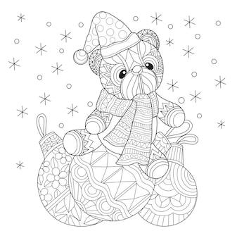 Hand gezeichnete illustration der teddybär weihnachtszeit