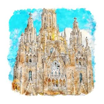 Hand gezeichnete illustration der tibidabo barcelona aquarell-skizze