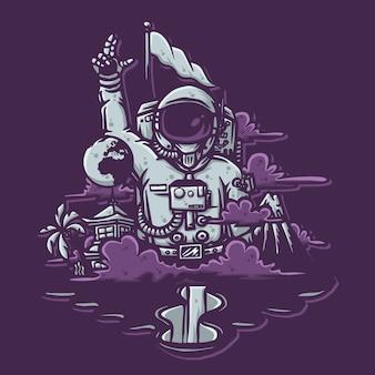 Hand gezeichnete illustration des astronauten für t-shirt