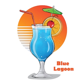 Hand gezeichnete illustration des cocktails. blaue lagune.