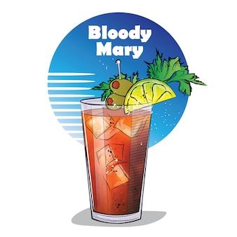 Hand gezeichnete illustration des cocktails. bloody mary.