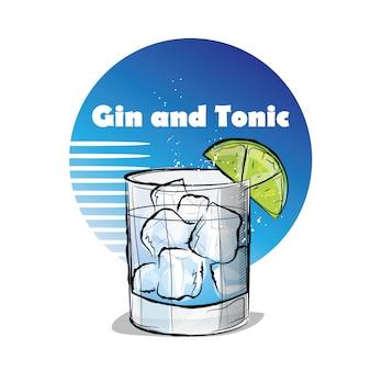 Hand gezeichnete illustration des cocktails. gin und tonic.