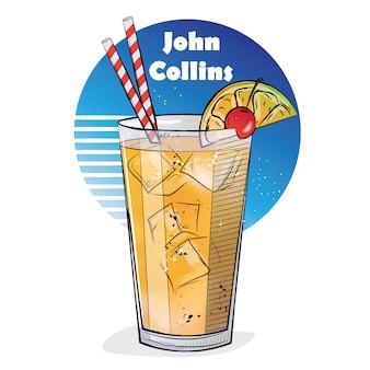 Hand gezeichnete illustration des cocktails. john collins.