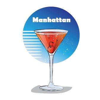 Hand gezeichnete illustration des cocktails. manhattan.