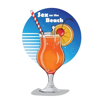 Hand gezeichnete illustration des cocktails.