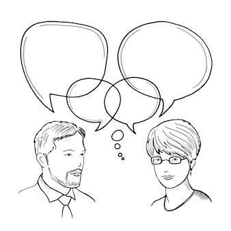 Hand gezeichnete illustration des dialogs zwischen mann und frau