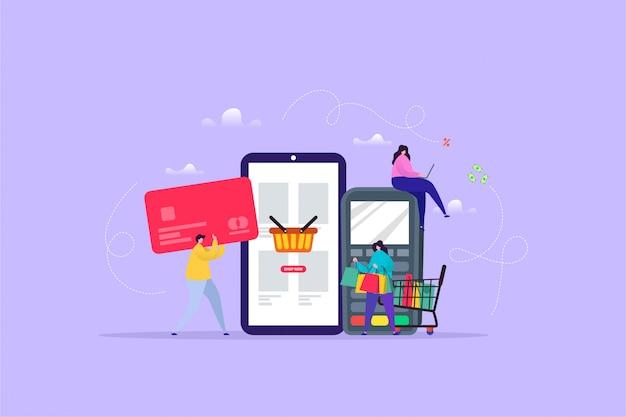 Hand gezeichnete illustration des einkaufens auf linie