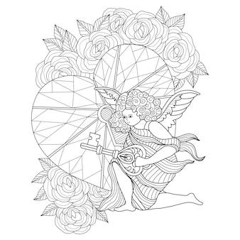 Hand gezeichnete illustration des engels der liebe und des schlüsselherzens