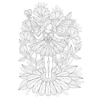 Hand gezeichnete illustration des engels und der blume.