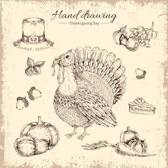 Hand gezeichnete illustration des erntedankfestes