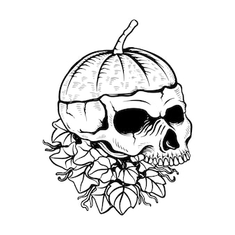 Hand gezeichnete illustration des halloween-kürbisschädels