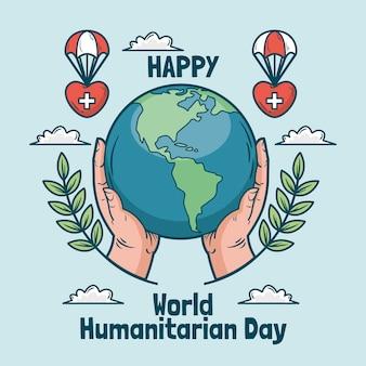 Hand gezeichnete illustration des humanitären welttages