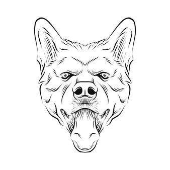 Hand gezeichnete illustration des hundekopfes