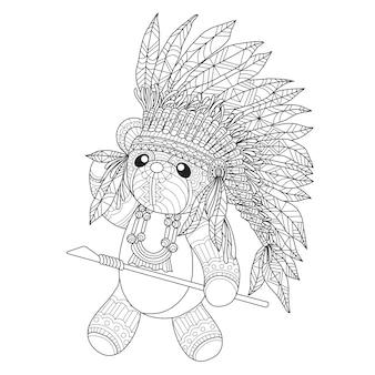 Hand gezeichnete illustration des indianischen teddybären.