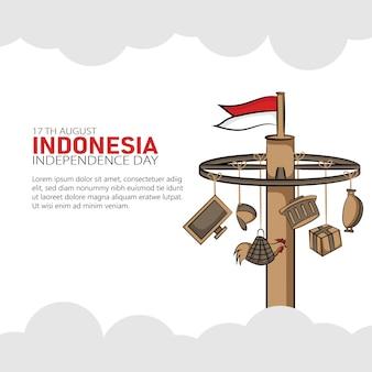 Hand gezeichnete illustration des indonesischen unabhängigkeitstaggrußkartenkonzepts.