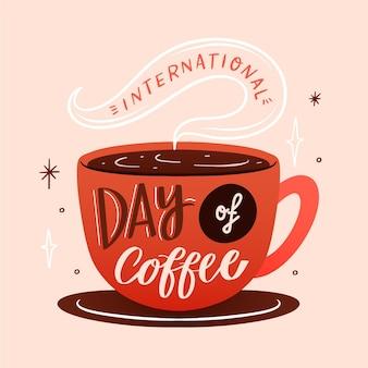 Hand gezeichnete illustration des kaffeetagesereignisses