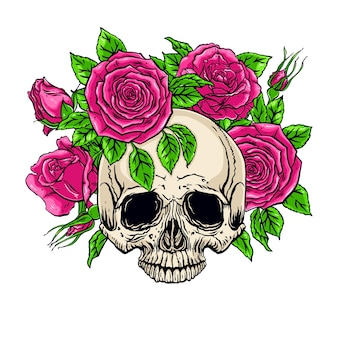 Hand gezeichnete illustration des menschlichen schädels der anatomie mit einem rosenkranz