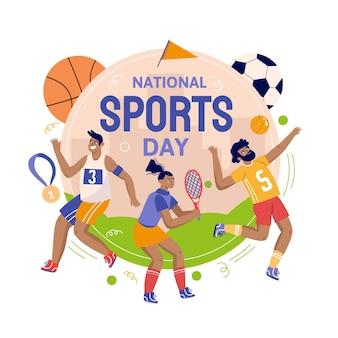 Hand gezeichnete illustration des nationalen sporttages Kostenlosen Vektoren