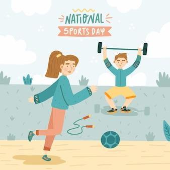 Hand gezeichnete illustration des nationalen sporttages Premium Vektoren