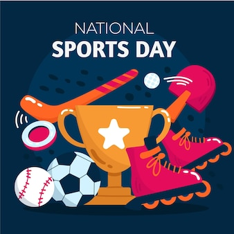 Hand gezeichnete illustration des nationalen sporttages