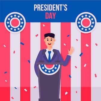 Hand gezeichnete illustration des präsidententages