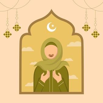 Hand gezeichnete illustration des ramadan-kareem-gruß-tageskonzepts