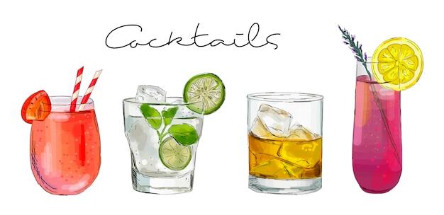 Hand gezeichnete illustration des satzes cocktails.