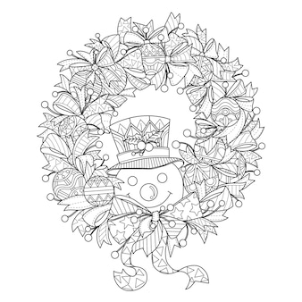 Hand gezeichnete illustration des schneemanns und des weihnachtskranzes