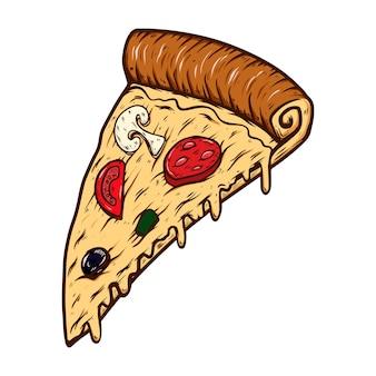 Hand gezeichnete illustration des schnittes der pizza lokalisiert auf weißem hintergrund. gestaltungselement für poster, karte, banner, t-shirt, emblem, zeichen. vektor-illustration