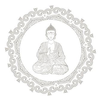 Hand gezeichnete illustration des sitzenden buddha im mandala-rahmen.