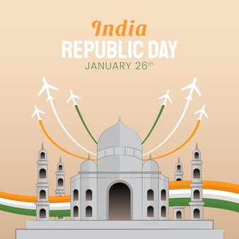 Hand gezeichnete illustration des tages der indischen republik. vektorillustration